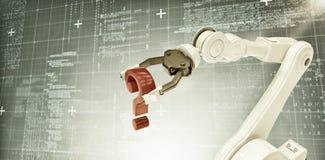 Imagem composta do fim acima do braço robótico com ponto de interrogação vermelho 3d Imagem de Stock