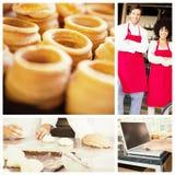 Imagem composta do fim acima do pastel delicioso Fotos de Stock Royalty Free