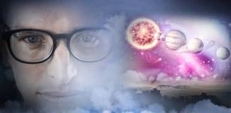 Imagem composta do fim acima do retrato de eyesglasses vestindo do homem Fotografia de Stock