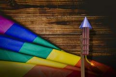 Imagem composta do foguete 3D para fogos-de-artifício Fotos de Stock Royalty Free