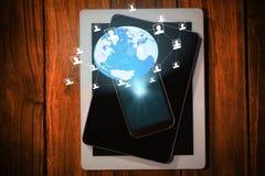 Imagem composta do fundo global 3d da tecnologia Imagem de Stock