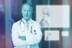 Imagem composta do gráfico de esqueleto transparente em 3d preto Imagem de Stock