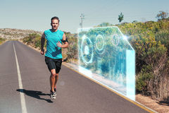 Imagem composta do homem atlético que movimenta-se na estrada aberta foto de stock royalty free