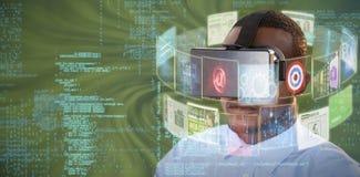 Imagem composta do homem com os auriculares 3d da realidade virtual Imagens de Stock