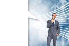 Imagem composta do homem de negócios de pensamento com bolha do discurso Imagens de Stock