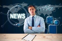 A imagem composta do homem de negócios elegante com braços cruzou-se no escritório 3d Imagem de Stock