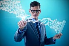 Imagem composta do homem de negócios que guarda a folha de vidro e a tela invisível tocante 3d Foto de Stock Royalty Free
