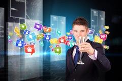 Imagem composta do homem de negócios que mantém um champanhe de vidro Foto de Stock