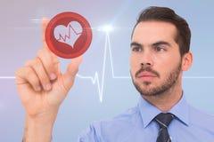 Imagem composta do homem de negócios que mede algo com seus dedos Imagem de Stock Royalty Free