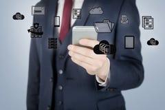 Imagem composta do homem de negócios que usa o telefone celular Imagem de Stock Royalty Free