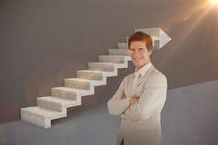 Imagem composta do homem de negócios seguro que está na câmera 3d Foto de Stock Royalty Free