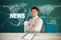 Imagem composta do homem de negócios seguro que está na câmera 3d Fotos de Stock Royalty Free