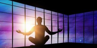 Imagem composta do homem de negócios do zen que medita na pose da ioga Foto de Stock
