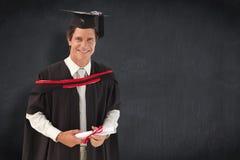 Imagem composta do homem que gradua-se da universidade fotos de stock