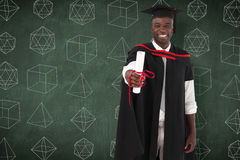 Imagem composta do homem que smilling na graduação Imagem de Stock