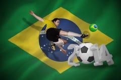 Imagem composta do jogador de futebol no retrocesso amarelo Fotografia de Stock Royalty Free