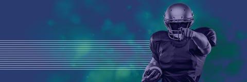 Imagem composta do jogador de futebol que guarda a bola ao apontar o dedo no fundo azul e verde imagem de stock