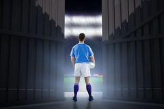 Imagem composta do jogador do rugby que gesticula com mãos 3D Foto de Stock Royalty Free