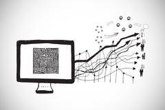 A imagem composta do labirinto no tela de computador com setas rabisca Imagens de Stock