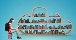 Imagem composta do livro de leitura do estudante na biblioteca fotos de stock