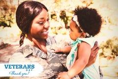 Imagem composta do logotipo para o dia de veteranos em América imagens de stock royalty free