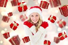 Imagem composta do louro festivo feliz Imagens de Stock Royalty Free