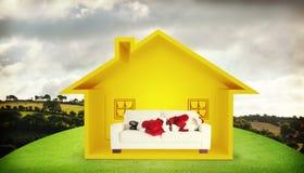 A imagem composta do Natal do pai dorme em um sofá Fotos de Stock Royalty Free