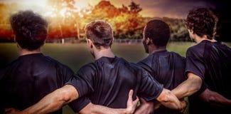 Imagem composta do passo 3D do rugby foto de stock
