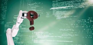 Imagem composta do ponto de interrogação vermelho robótico branco 3d da terra arrendada de braço Foto de Stock