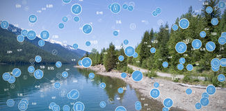 A imagem composta do quadro completo disparou de ícones azuis circulares do computador Imagem de Stock