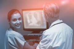 Imagem composta do raio X da caixa humana na superfície digital 3d Fotos de Stock