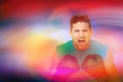 Imagem composta do retrato do close-up de um pugilista masculino determinado que grita Foto de Stock