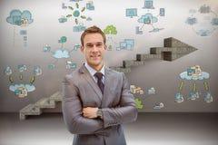 Imagem composta do retrato do homem de negócios esperto no terno Foto de Stock