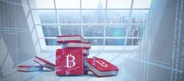 Imagem composta do símbolo do bitcoin ilustração do vetor