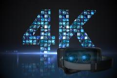Imagem composta do simulador preto da realidade virtual sobre o fundo branco Imagem de Stock Royalty Free