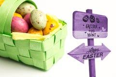 Imagem composta do sinal da caça do ovo da páscoa Fotos de Stock Royalty Free