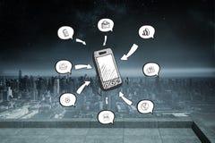 Imagem composta do smartphone e dos ícones do app fotografia de stock