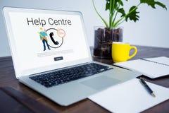 Imagem composta do texto do centro da ajuda com ícones Foto de Stock