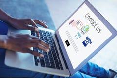 Imagem composta dos ícones com contato nós texto imagem de stock royalty free