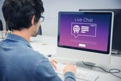 Imagem composta dos ícones com texto vivo do bate-papo fotografia de stock