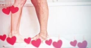 Imagem composta dos corações que penduram em uma linha Imagens de Stock