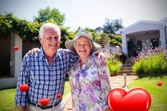 Imagem composta dos corações superiores 3d dos pares e dos Valentim Imagem de Stock Royalty Free