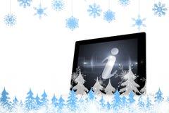 Imagem composta dos flocos de neve e dos abeto Fotografia de Stock Royalty Free