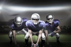 Imagem composta dos jogadores de futebol americano 3D Imagens de Stock Royalty Free