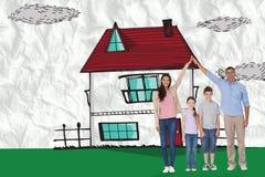 Imagem composta dos pais felizes que juntam-se às mãos acima das crianças Fotos de Stock Royalty Free