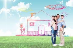 Imagem composta dos pais que dão às cavalitas o passeio às crianças sobre o fundo branco fotografia de stock royalty free