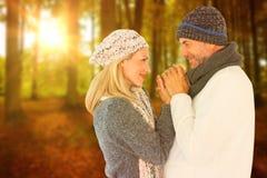 Imagem composta dos pares de sorriso bonitos que guardam as mãos imagem de stock
