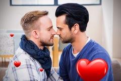 Imagem composta dos pares dos homens e dos corações 3d dos Valentim Imagens de Stock Royalty Free