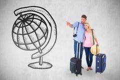Imagem composta dos pares novos atrativos prontos para ir em férias Fotos de Stock Royalty Free