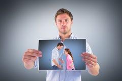 Imagem composta dos pares que discutem um com o otro Fotografia de Stock